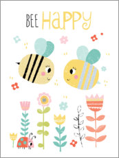 Poster  Bee Happy - Louise Anglikas