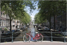 Tableau sur toile  Vélo rouge, Amsterdam - Fraser Hall