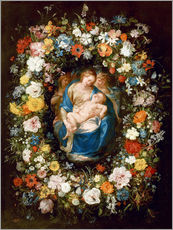 Sticker mural  Flowers wreath with virgin, child and two angels - Jan Brueghel d.Ä.