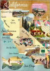 Tableau en plexi-alu  Collage California (anglais) - GreenNest
