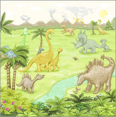 Sticker mural  dinosaur landscape - Fluffy Feelings