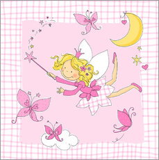 Sticker mural flying fairy with butterflies on checkered background