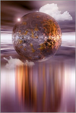 Sticker mural  3D ball in purple and copper - INA FineArt