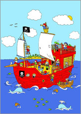 Sticker mural pirate ship scene