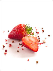 Tableau en plexi-alu  Strawberries with red peppercorns - Edith Albuschat