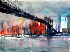 Tableau en plexi-alu  New York, pont de Brooklyn IV - Johann Pickl