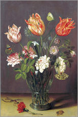 Sticker mural  Tulips with other Flowers in a Glass on a Table - Jan Brueghel d.Ä.