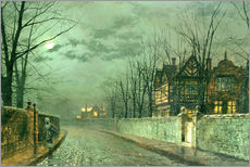 Tableau en plexi-alu  Old English House, Moonlight after Rain - John Atkinson Grimshaw