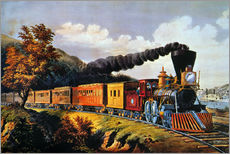 Tableau en plexi-alu  American Express Train. - N. & J.M. Currier & Ives