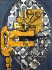 Tableau en plexi-alu  Guitar, Bottle, and Glass - Juan Gris