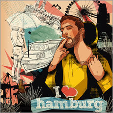 Tableau en plexi-alu  I love Hamburg - Sugah