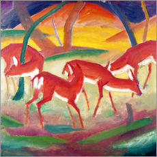 Sticker mural  Biches rouges - Franz Marc