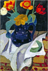 Sticker mural  Nature morte aux tulipes en pot bleu - Paula Modersohn-Becker