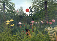 Sticker mural  Paysage de jungle au soleil couchant - Henri Rousseau