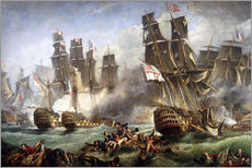 Sticker mural  La bataille de Trafalgar - William Clarkson Stanfield