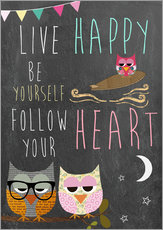 Sticker mural  Live Happy, be yourself, follow your heart - GreenNest