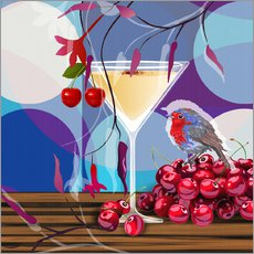 Tableau en plexi-alu  Vintage Birdy Cocktail IV - Mandy Reinmuth