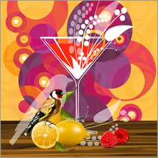 Tableau en plexi-alu  Vintage Birdy Cocktail I - Mandy Reinmuth