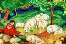 Tableau sur toile  Shepherdess with sheep - Franz Marc