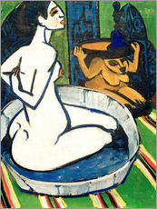 Tableau en plexi-alu  Female nude in the tub - Ernst Ludwig Kirchner