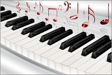 Sticker mural  Piano keyboard with notes - Kalle60