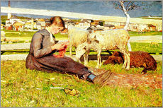 Sticker mural  A Girl Knitting - Giovanni Segantini