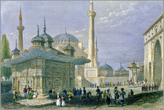 Sticker mural  Fountain and Square of St. Sophia, Istanbul - William Henry Bartlett