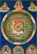 Tableau en plexi-alu  Thangka of Mandala of Chakrasamvara in fierce form with red Prajna, Vajravarahi, 19th-20th century - Tibetan School