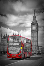 Sticker mural  LONDRES Bus rouge et Big Ben - Melanie Viola