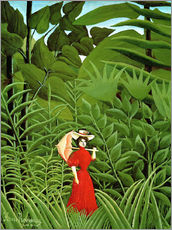 Sticker mural  Woman in red in forest - Henri Rousseau