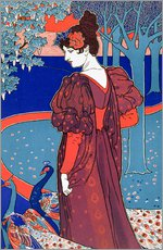 Tableau en plexi-alu  Woman with Peacocks, Stampe Modern - Louis John Rhead