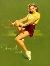 Tableau en plexi-alu  Pin-up en short (anglais) - Al Buell