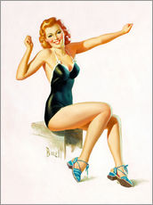 Sticker mural  Pin Up - Seated Redhead in Swimsuit - Al Buell