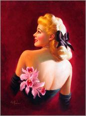 Tableau en plexi-alu  Glamour Pin Up with Pink Orchids - Art Frahm