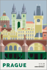 Sticker mural prague skyline