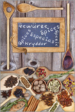Tableau en plexi-alu  Spices in different languages - Thomas Klee