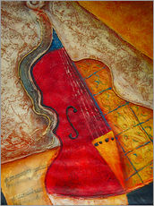 Sticker mural  Violin violin music abstract painting orange structure - Michael artefacti