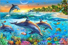 Sticker mural  Dolphin bay - Adrian Chesterman