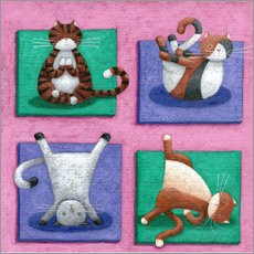 Sticker mural  Yoga pour chats - Peter Adderley