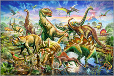 Sticker mural  Assembly of dinosaurs - Adrian Chesterman