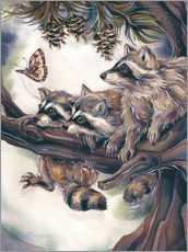 Sticker mural  Raccoons and butterfly - Jody Bergsma