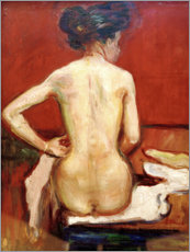 Tableau en plexi-alu  Back View of Sitting Female Nude with Red Background - Edvard Munch