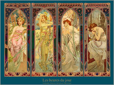 Sticker mural  Les heures du jour, collage - Alfons Mucha