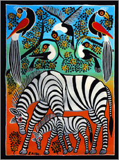 Sticker mural  Zebras under a wild tree - Saidi