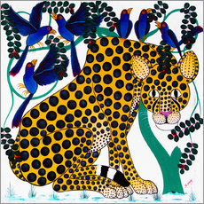 Tableau en plexi-alu  Cheetah seeks protection under the bird tree - Omary