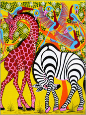 Tableau en plexi-alu  Zebra with Giraffe in the bush - Omary