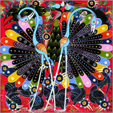 Tableau en plexi-alu  Peacock in courtship - Stephan