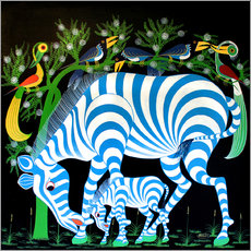 Sticker mural Blue Zebras at night