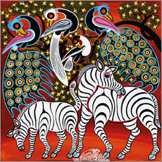 Tableau en plexi-alu  Zebras with peacock - Mzuguno