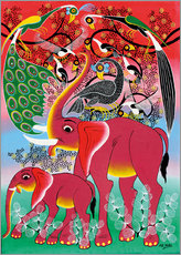 Sticker mural  Red Elephant with peacock - Noel